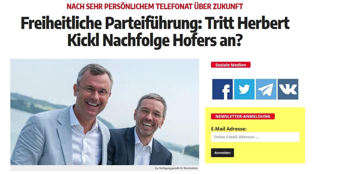 Freiheitliche Parteiführung: Tritt Herbert Kickl Nachfolge Hofers an?