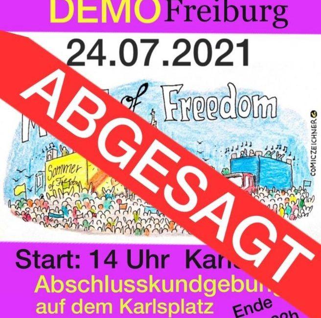 Move of Freedom – Demonstration Freiburg den 24.07.2021 abgesagt